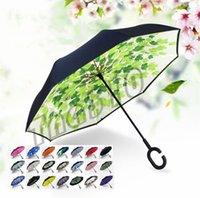 Neueste Winddicht Reverse Umbrella Folding Double Layer Inverted Regenschirm Selbstständer Inside Out Regenschutz C-Hook Hände I478