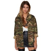 Womens Cool Camo Zipper Coats Turn-down Collar Full Sleeve Giacche Ladies Fashion Allentato fuori indossare giacca wz049