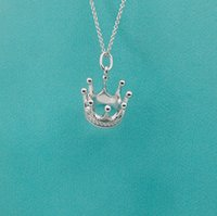 Luxury jewelry S925 sterling silver crown necklace with engr...