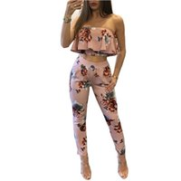 Atacado Off Ombro Sexy Estampa Floral Macacões Two Piece Backless Club Macacão Mulheres Macacão Sem Alças Completa Bodysuit Macacões de Verão