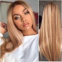 Y -Demand peruca Ombre Mulheres Pretos Liso sintético Brown ouro longo peruca loira Ombre várias cores Hair Style