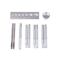 11 Pz / set Metallo Artigianato Strumento di Legno Die Hole Punch Snap Fastener Kit di installazione Rivet Setter Base Set per FAI DA TE In Pelle QW7407