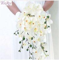 FENGRISE Artificielle Orchidée Fleurs Blanc Orchidée Phalaenopsis Mariée Bouquet De Mariage Papillon Orchidée Nuptiale De Douche Décoration