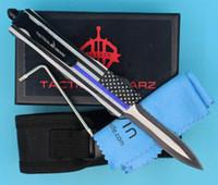 Blaue Flagge 7 Zoll 616 Mini Auto Taktisches Messer 440c Doppelzonen Halbverzahnungsklinge EDC Taschenmesser