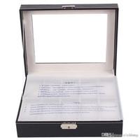 Коробка дисплея вахты Черная 10 решеток кожаная коробка с прозрачным Skylight для хранения вахты с замком тавро Hz17 Elenlong