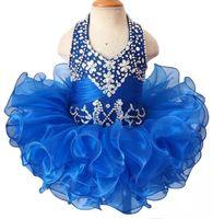 2018 Mignon Organza Cupcake Ball Gown Toddler Petites Filles Pageant Robes Perles Halter Royal Bleu Rose Blanc Fleur Filles Robe