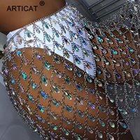Articat Metall Glitter Kristall Diamanten Rock Frauen Hohe Taille Aushöhlen Pailletten Bodycon Minirock Nachtclub Party Outfits