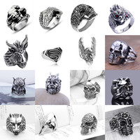 Fashion High Qality Vintage Mens Womens Stainless Steel Rings Silver Cool Gothic Punk Hip Hop Biker Finger Rings Jewelry