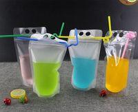 500 مل شفافة كيس من البلاستيك الشراب مختومة حقيبة الحقيبة للمشروبات عصير حليب القهوة ، مع مقبض والثقوب للقش