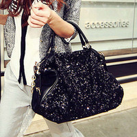 New Black Classic PU Sequin Large Capacity Totes