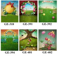 Fotografia 5x7ft Happy Easter Backdrops vinil impresso colorido jogando ovos do bebê recém-nascido Photo fundo Props Primavera para Studio