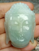 Certified Light Green Natural A Jade jadeite Carved Shakyamu...