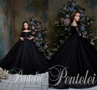 Vintage Black Ball Gown Girl' s Pageant Dresses Lace App...