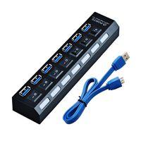 100 adet 7 Port USB 3.0 Hub On / Off Anahtarı + AB / ABD / İNGILTERE AC Güç Adaptörü Laptop Masaüstü Için yeni