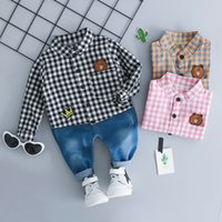baby boy clothe 2018 baby clothe plaid bear tracksuit kids t...