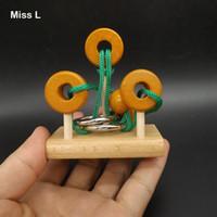 7cm 트레블 링 퍼즐 로프 솔루션 브라이언 티저 마인드 가제트 인텔리전스 게임 아동용 나무 장난감