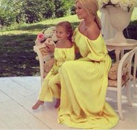 Family Matching Chiffon Dress Boat Neck Mother Daughter Bohe...