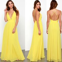 2018 Yellow Color Women Spaghetti Strap Chiffon Dress Backle...