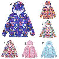 Baby Mädchen Blumen Donut Eis Katze Hund print Mäntel Herbst Kinder mit Kapuze Schleien Mäntel Jacke Kinder Outwear Kind Kleidung C4346