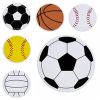 Football Large Beach Towels Balls Print Microfiber Round Tas...