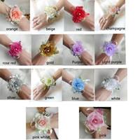 Venda quente De Noiva Flor De Pulso Corsage Meninas Dama de Honra Irmãs Mão Flores De Casamento Flores De Seda Artificial Bracelet