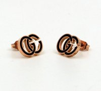 Wholesale High Quality Steel Titanium Earrings Two G Enamel ...