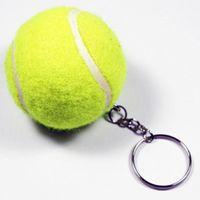 100pcs / lot 녹색 테니스 모양의 키 체인 시뮬레이션 작은 테니스 키 링 직경 약 3cm 스포츠 액세서리