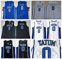 Uomini 0 Jayson Tatum College Jersey Black Blue Bianco Duke Duke Blue Devils Pallacanestro Piantine di Basket Color Sport Sport Traspirante Eccellente qualità