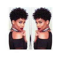 neue Ankunft brasilianisches Haar African Ameri Kurzschnitt verworrene lockige Perücke Simulation Menschliches Haar kurze lockige Perücke für die Dame