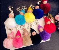 Cute Sleeping Baby Doll Keychain Pompom Rabbit Fur Ball Key ...