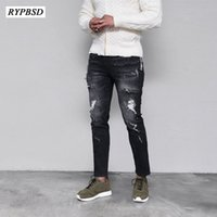 Ripped Biker Jeans Men Denim Skinny Jeans Men Black Hip Hop ...