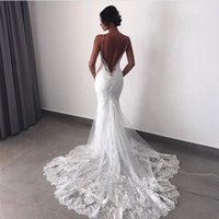 Sexy Backless Mermaid Wedding Dresses V Neck Spaghetti Strap...