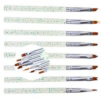 8 stücke Nail art Pinsel Set Stift Mond Geformt Französisch Tipps Pinsel Set Blütenblatt Blume Gradienten Verblassen Farbe Malerei Zeichnung Stift Maniküre Werkzeug