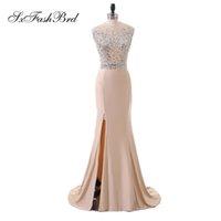 Elegante avondjurk sexy o nek met kristallen zeemeermin kant gesplitste lange partij formele avondjurken jurken voor vrouwen twee stukken Prom