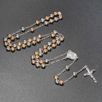 6mm Collar de Perlas de Rosario Católico Joyas Grano Religioso María Santísima con Jesús Cruz Collar Colgante