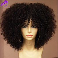 Peluca frontal de encaje completo natural de densidad 180 con flequillo Pelucas rizadas afro sintéticas de pelo corto para mujeres negras