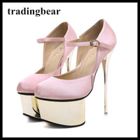 16cm Gold platform ultra high heels pink satin wedding shoes...