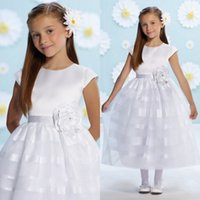 2018 girls first holy communion dress crew neck capped sleev...