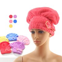 Colorful coral fleece Shower Caps Wrapped Bathroom Hats swim...