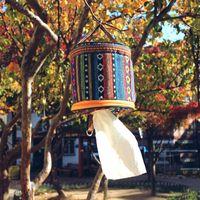 Nationalen Stil Tissue Box Runde Faltbare Serviette Aufbewahrungsbeutel Für Outdoor Camping Hängen Toilettenpapier Fall Kreative 7 5gt B
