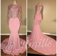 Pink Beaded Lace Mermaid Prom Dresses 2018 Crew Neck Backles...