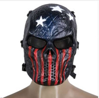 Skull Airsoft Party Mask Paintball Maschera a pieno facciale Giochi di esercito Mesh Eye Shield Mask per Halloween Cosplay Party Decor