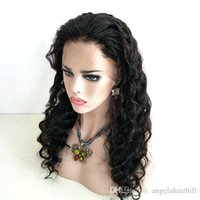 Natural Virgin Deep Loose Wave Human Hair Full Lace Wigs Wit...