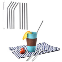 Stainless Steel Straws Straight and Bend Reusable Drinking S...