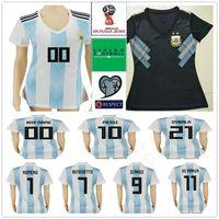 2018 Coupe du monde Femmes Argentine Soccer Jerseys 10 Messi Maradona 20 Kun Aguero 21 Dybala 6 Biglia Custom White Black Football Shirt de football