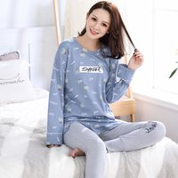 Newest Autumn 100%Cotton Women Pajamas Set Long Sleeve Turn-...