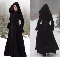 2018 neue pelz hallowmas mit kapuze madeln winter wedding capes wicca robe warme mäntel bride jacke weihnachten schwarzer Ereignissen Zubehör