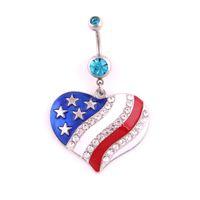 جديد القلب العلم الأميركي السرة ثقب ملون كريستال القلب شكل البطن زر خواتم النساء جودة البطن ثقب الجسم مجوهرات