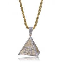 Hip Hop heló hacia fuera color de oro chapado egipcia pirámide del ojo de Horus Colgante Collar Micro CZ pavimentado Chram joyería
