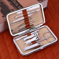 12p جيم مجموعة مانيكير قطع الفولاذ المقاوم للصدأ مسمار تمديد عدة المقص لأدوات مانيكير باديكير مجموعة المهنية للتقليم